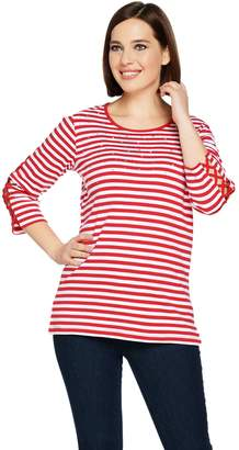 Factory Quacker Striped Rhinestone Lattice Sleeve Knit T-shirt