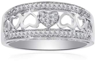 14K White Gold 0.25ct Diamond Heart Cut-Out Ring Size 7.5