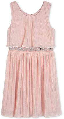 BCX Pleated Glitter Popover Dress, Big Girls