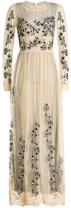 RED Valentino Maxi Dress with Embroidered Lace Tulle