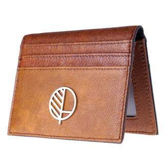 Drew Lennox - Real British Leather Compact Wallet and 9 Slot Card Holder with ID Window In Rustic Brown