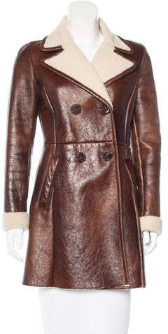 prada Prada Shearling Alligator-Accented Coat
