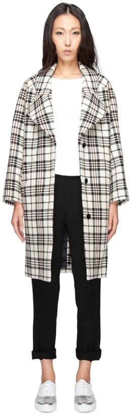 CarvenCARVEN Multicolor Manteau Drap Tartan Wool Coat