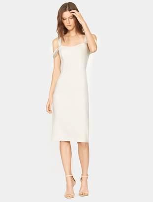 Halston Cold Shoulder Slim Crepe Dress