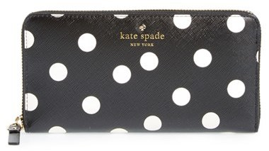 Women's Kate Spade New York 'Cedar Street - Lacey' Dot Zip Around Wallet - Black