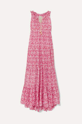 Yvonne S Hippy Tiered Printed Cotton-voile Maxi Dress - Fuchsia
