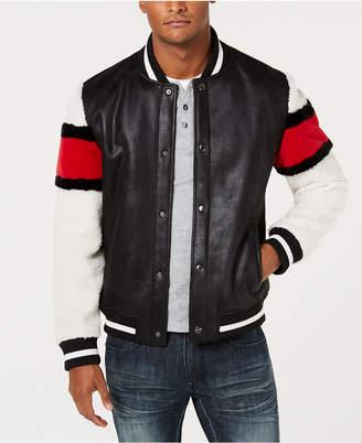 INC International Concepts I.n.c. Men's Striped-Sleeve Varsity Fleece-Lined Jacket