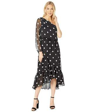Lauren Ralph Lauren Polka Dot One Shoulder Dress