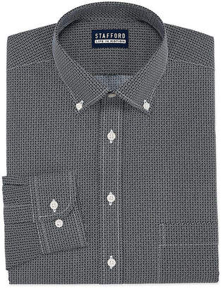STAFFORD Stafford Stafford Chambray Stretch Easy-Care Broadcloth Long Sleeve Broadcloth Pattern Dress Shirt
