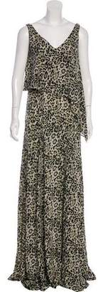 Derek Lam Silk Animal Print Maxi Dress