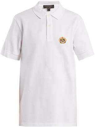 Burberry Unisex crest-embroidered cotton-piqué polo shirt