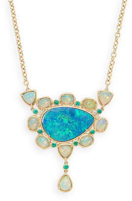 Rina Limor Fine Jewelry Australian Ethiopian & Doublet Opal, Emerald & Diamond Bezel Set Necklace