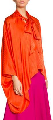 Balenciaga Montaigne Draped Vareuse Logo Blouse, Orange