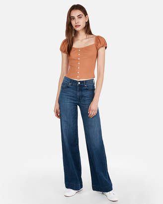 Express One Eleven Ribbed Puff Sleeve Top