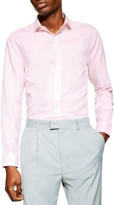 Topman Slim Fit Dobby Cotton Long Sleeve Dress Shirt