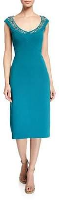 Zac Posen Sequined Neck Bonded Crepe Dress