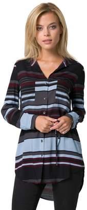 Le Château Women's Stripe Button-Down Tunic Blouse,XS