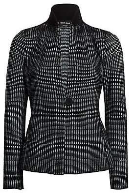Giorgio Armani Women's Ottoman Contrast Collar One-Button Blazer