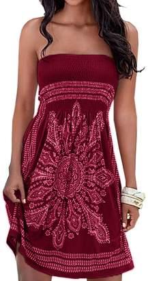 AGL Imagine Women's Strapless Floral Print Bohemian Casual Mini Cover up Beach Dress(Re,XL)