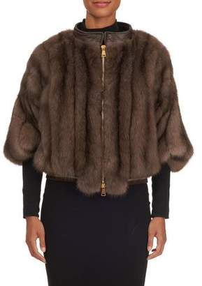Tsoukas Russian Sable Zip-Front Poncho Jacket