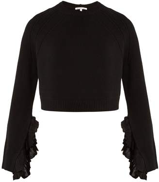 Helmut Lang Ruffle-trimmed wool and cashmere-blend sweater