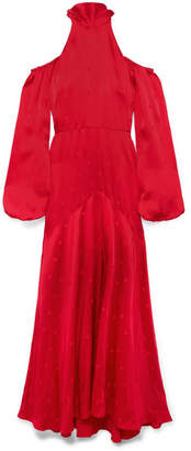 Temperley London Betty Cold-shoulder Satin-jacquard Maxi Dress - Red