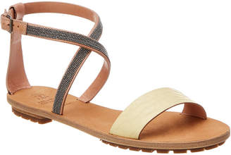 Brunello Cucinelli Ankle-Wrap Leather Sandal