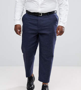 Asos DESIGN PLUS Tapered Smart Pants In Navy Wool Mix Texture