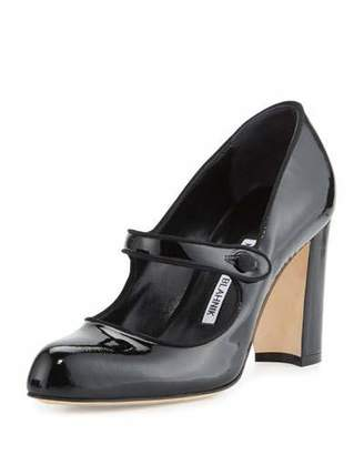 Manolo Blahnik Campy 90mm Mary Jane Pump, Black $745 thestylecure.com