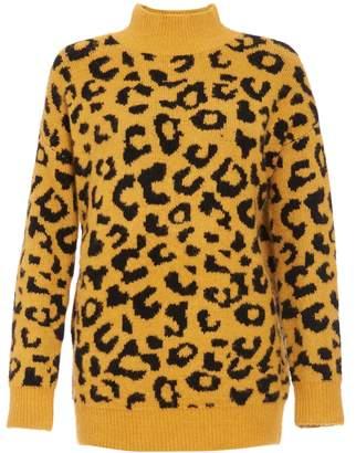 Dorothy Perkins Womens *Quiz Mustard Black Leopard Print Jumper