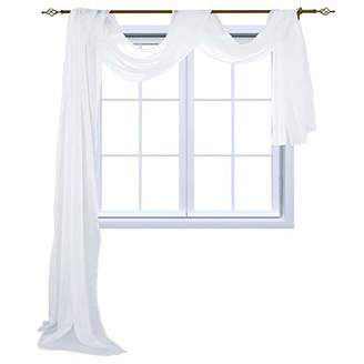 HOLKING Sheer Panel Curtains Scarf-Home Decor Window Sheer Valance Voile Scarf 1 Piece