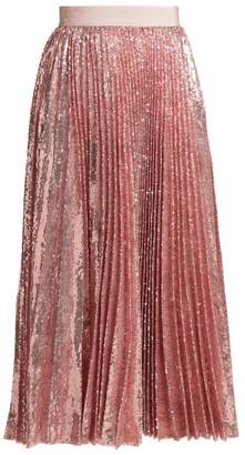 MSGM Sequined Pleated Midi Skirt - Womens - Pink