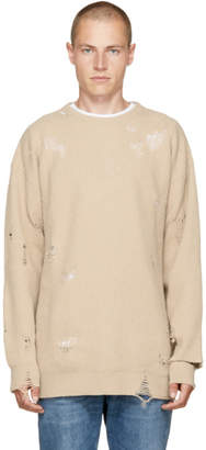 Diesel Beige Distressed K-LOL Sweater