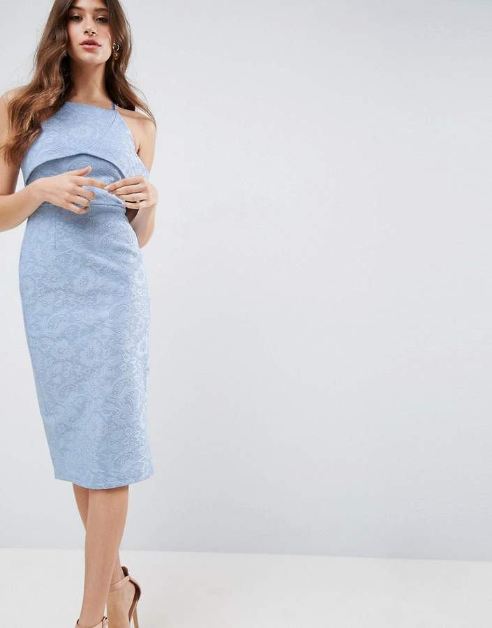 AsosASOS Lace One Shoulder Bardot Pencil Midi Dress