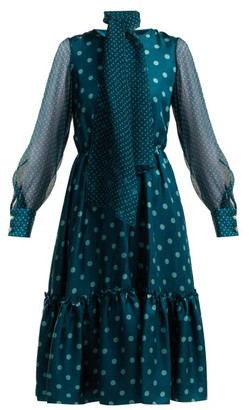 Luisa Beccaria Polka Dot Silk Midi Dress - Womens - Blue Multi
