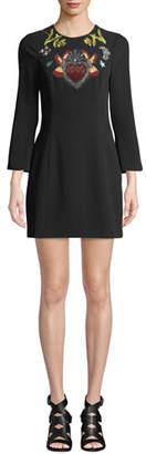 Cinq à Sept Josephine Embroidered Crepe Short Dress