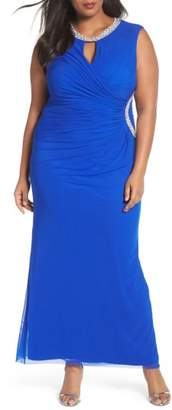 Marina Embellished Faux Wrap Gown