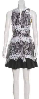 Halston Sleeveless Printed Dress White Sleeveless Printed Dress