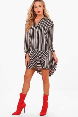 boohoo Dipped Hem Stripe Woven Shirt Dress