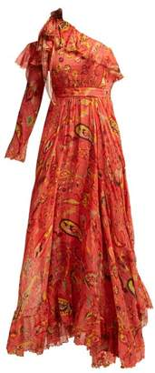 Etro Into The Valley One Shoulder Paisley Silk Gown - Womens - Red Print