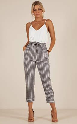Showpo I Belong With You pants in grey stripe linen look