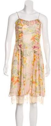Anna Sui Silk Print Knee-Length Dress