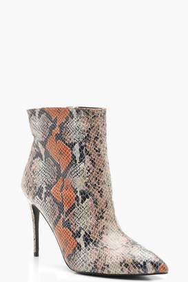 boohoo Mixed Snake Pointed Toe Stiletto Shoe Boots
