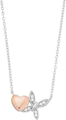 Close At Heart Close at Heart Two Tone Sterling Silver Cubic Zirconia Heart & Butterfly Necklace