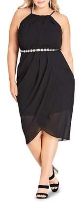 City Chic Plus Allure Sleeveless Draped Dress