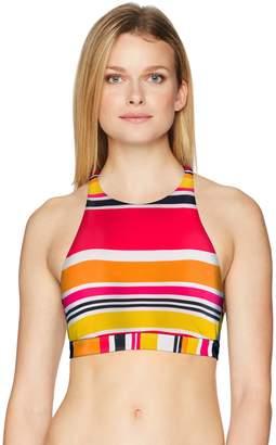 Nautica Women's Coastline Stripe High Neck Cross Back Bikini Top