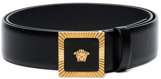 Versace black Medusa buckle leather belt