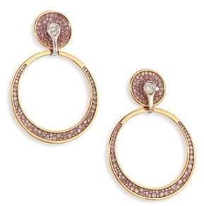 "Pleve Pink Burst Diamond& 18K Yellow Gold Opus Hoop Earrings/0.6"""