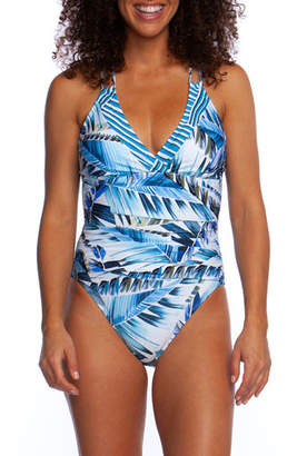 La Blanca Plus Size Two Cool Surplice One-Piece Swimsuit