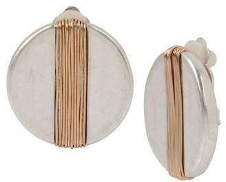 Robert Lee Morris Two-Tone Wire Wrapped Clip-On Disc Earrings